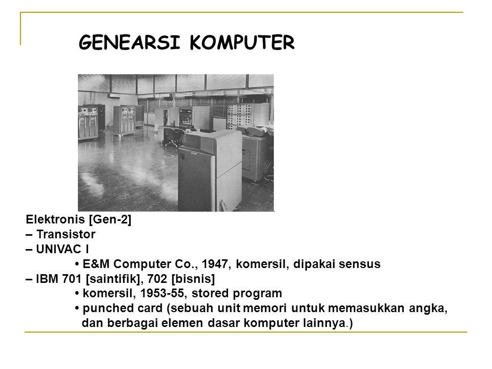 GENEARSI KOMPUTER Elektronis [Gen-2] – Transistor – UNIVAC I